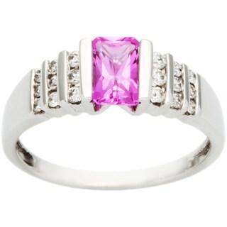 10k White Gold 1/4ct TDW Diamond and Pink Topaz Estate Ring (G-H, VS1-VS2)