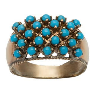 14k Yellow Gold Clustered Turquoise Antique Ring (Size 10.25)