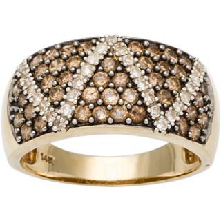 14k Yellow Gold 1ct TDW Diamond Zig Zag Pave Estate Ring (Size 8)