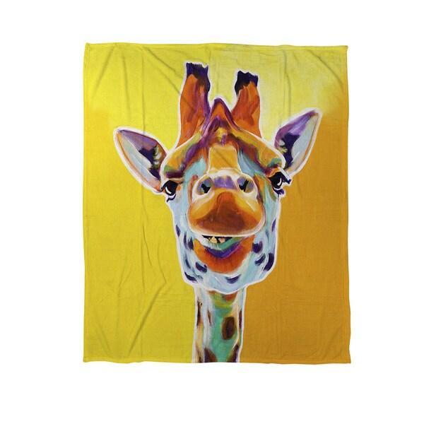 Giraffe No 3 Coral Fleece Throw