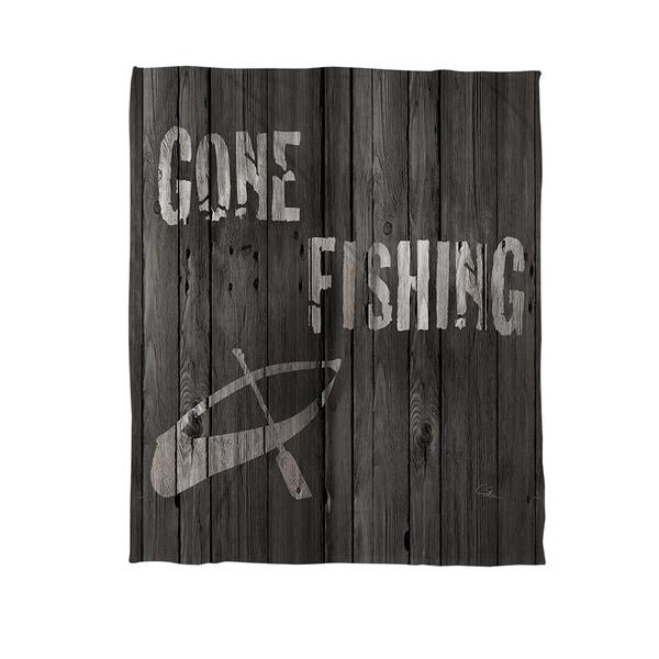 Gone Fishing Fleece Throw