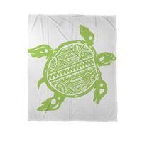 Honu Turtle Green Coral Fleece Throw