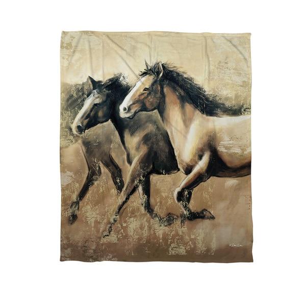 Galloping Horses Fleece Throw