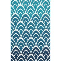 Hand-hooked Indoor/ Outdoor Capri Blue/ Multi Rug - 5' x 7'6
