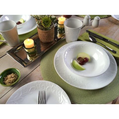 Corelle Embossed Bella Faenza White Vitrelle Glass 16-piece Dinnerware Set