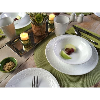 Corelle Embossed Bella Faenza White Vitrelle Glass 16-piece Dinnerware Set