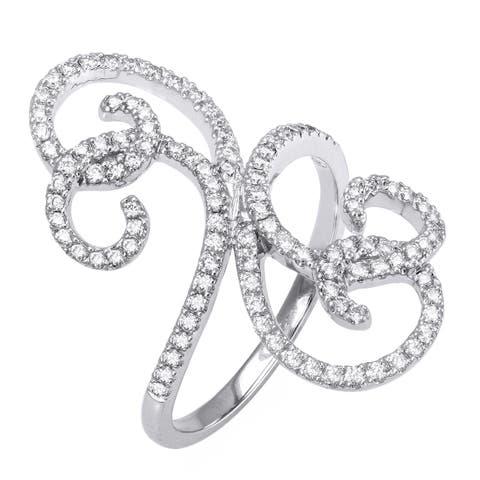 10k White Gold 1/2ct TDW Free Form Swirl Diamond Ring