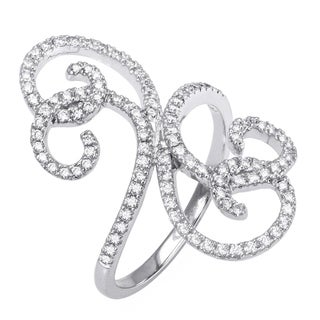 10k White Gold 1/2ct TDW Free Form Swirl Diamond Ring