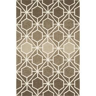 Hand-hooked Indoor/ Outdoor Capri Brown/ Beige Rug (7'6 x 9'6) (Option: Brown)|https://ak1.ostkcdn.com/images/products/10105469/P17245958.jpg?impolicy=medium