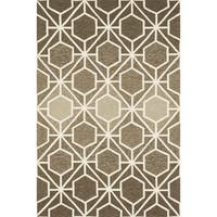 Hand-hooked Indoor/ Outdoor Capri Brown/ Beige Rug - 7'6 x 9'6