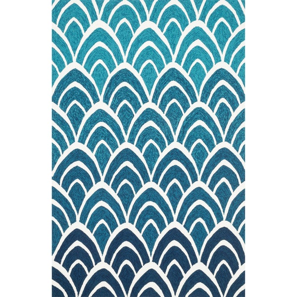Indoor/ Outdoor Hand-hooked Blue Geometric Rug - 9'3 x 13'