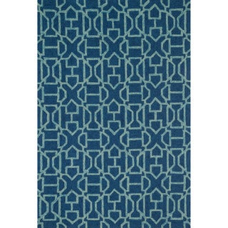 Hand-hooked Indoor/ Outdoor Capri Navy/ Aqua Rug (3'6 x 5'6)