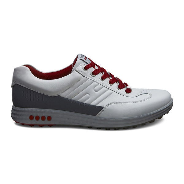 ECCO Men's Street EVO One Spikeless White/ Silver/ Red Golf Shoes