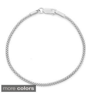 Gioelli Sterling Silver Popcorn Link Chain Bracelet