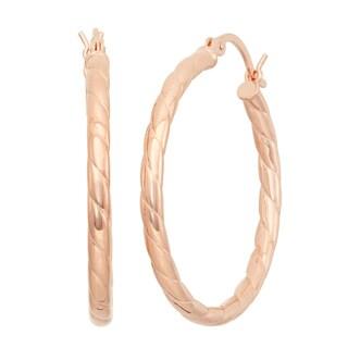 Gioelli Rose Goldplated Sterling Silver Twisted Hoop Earrings