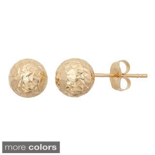 Gioelli 14k Gold 6mm Diamond Cut Ball Stud Earrings