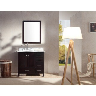 ARIEL Cambridge 37-inch Single Left Offset Sink Espresso Vanity Set