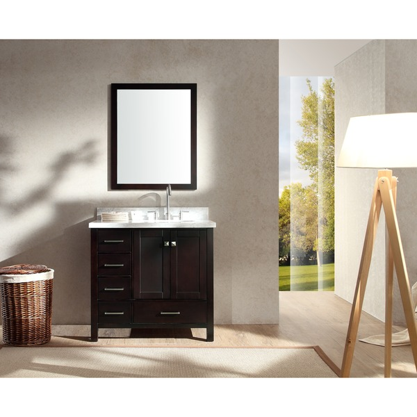 ARIEL Cambridge 37 Inch Single Right Offset Sink Espresso Vanity Set