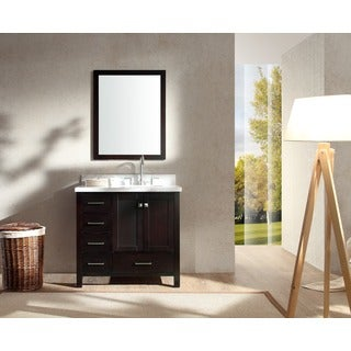 ARIEL Cambridge 37-inch Single Right Offset Sink Espresso Vanity Set