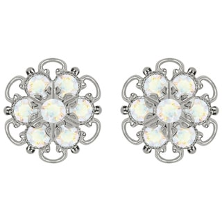 Lucia Costin Silver/ White Crystal Earrings