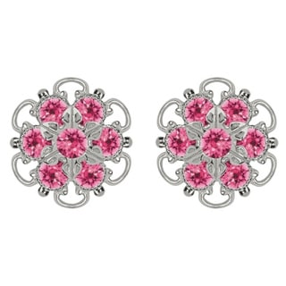 Lucia Costin Silver/ Pink Crystal Earrings