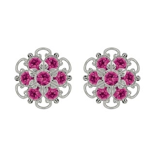 Lucia Costin Silver/ Fuchsia Crystal Earrings