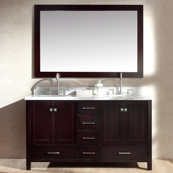 Ariel cambridge 61 inch double sink espresso vanity set free shipping today overstock 17246032 for 66 inch bathroom vanity cabinets