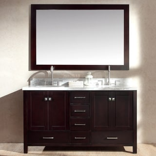 ARIEL Cambridge 61-inch Double Sink Espresso Vanity Set