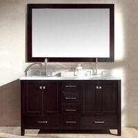 ARIEL Cambridge 61-inch Double Sink Espresso Vanity Set