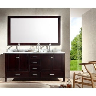 ARIEL Cambridge 73-inch Double Sink Espresso Vanity Set
