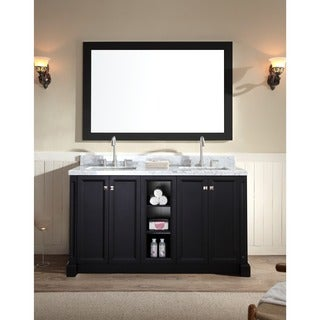 ARIEL Westwood 60 Inch Double Sink Black Vanity Set