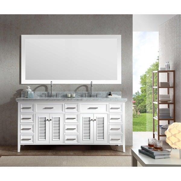 Incroyable Kensington 73 Inch Double Sink Vanity Set In White