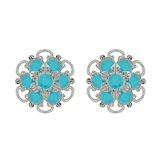 Lucia Costin Silver/ Turquoise Crystal Earrings
