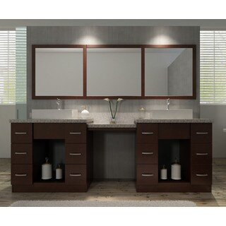Roosevelt 97-inch Double Sink Vanity Set in Walnut with Makeup Table