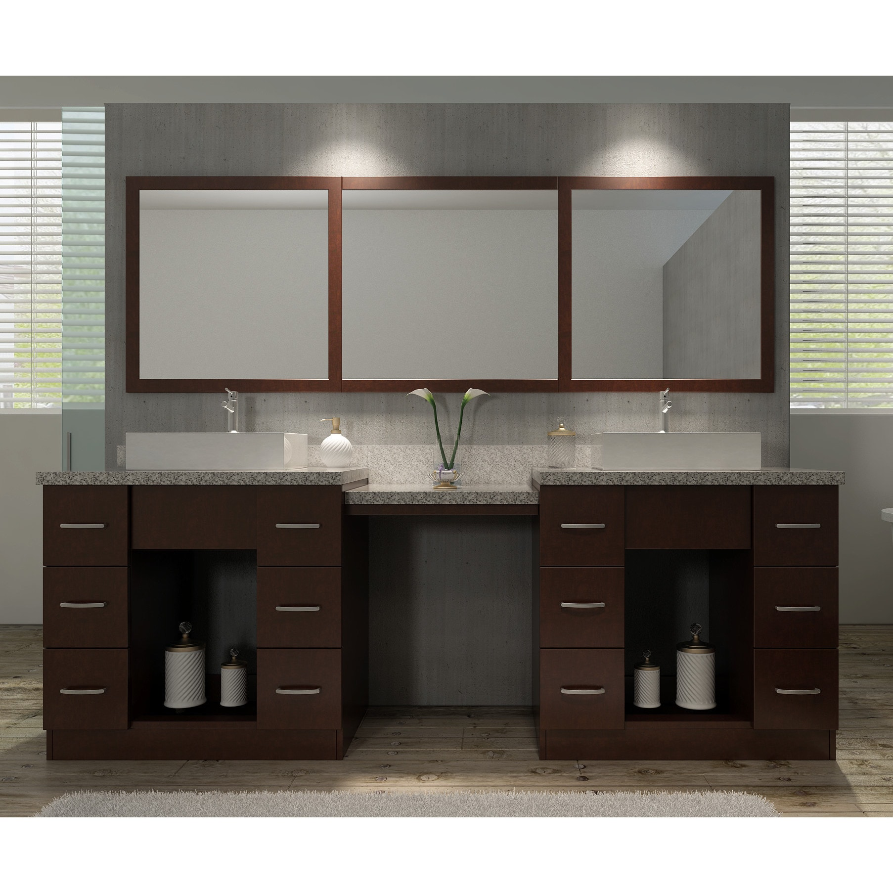 Double Sink Vanity Set In Walnut