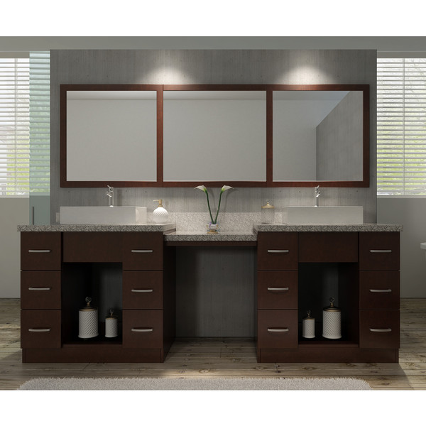 Roosevelt 97 Inch Double Sink Vanity Set In Walnut With Makeup Table