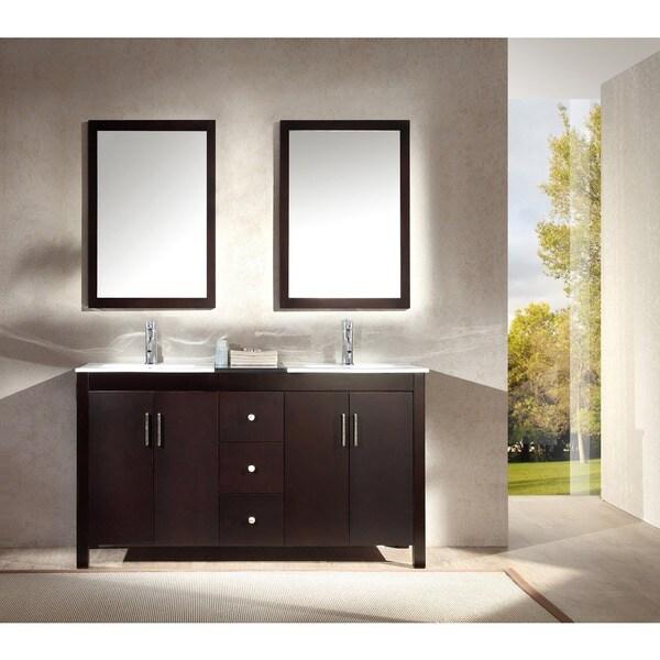 Hanson 60-inch Double Sink Vanity Set in Espresso