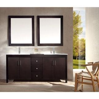 ARIEL Hanson 73-inch Double Sink Espresso Vanity Set