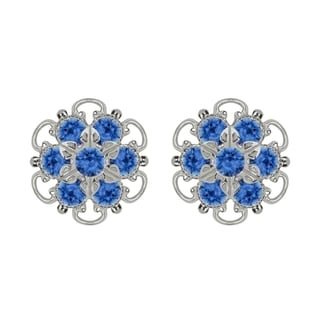 Lucia Costin Silver/ Blue Crystal Earrings