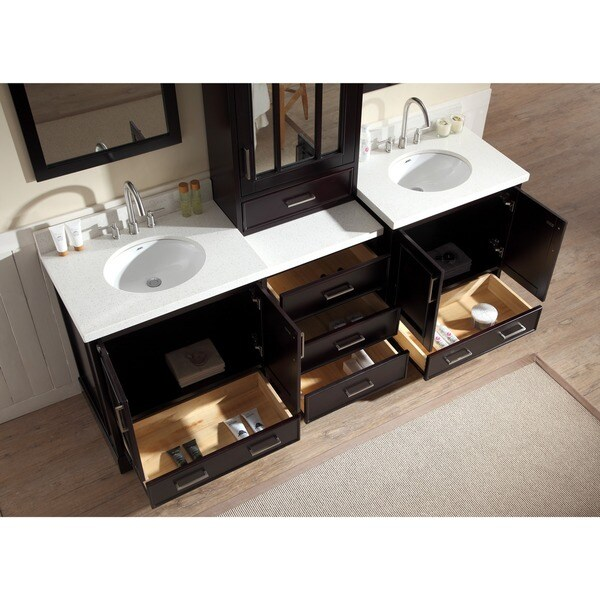 ARIEL Stafford 85 Inch Double Sink Espresso Vanity Set With Center Medicine  Cabinet   Free Shipping Today   Overstock.com   17246055