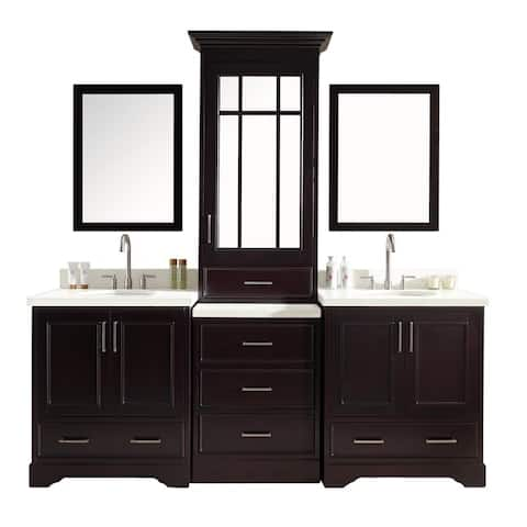 ARIEL Stafford 85-inch Double Sink Espresso Vanity Set with Center Medicine Cabinet