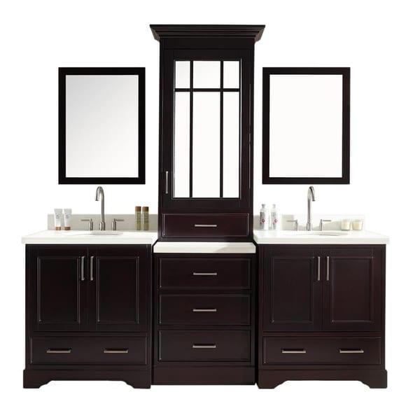 ARIEL Stafford 85-inch Double Sink Espresso Vanity Set with Center Medicine Cabinet