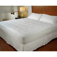 All Season Reversible Microplush and Microfiber Mattress Pad - White