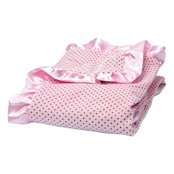 Trend Lab Rose Pink Delightful Dot Velour and Satin Receiving Blanket