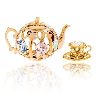 Matashi 24k Gold Plated Tea Set Ornaments with Genuine Matashi Crystals