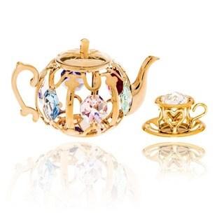 Matashi Gold Plated Tea Set Ornaments with Genuine Matashi Crystals