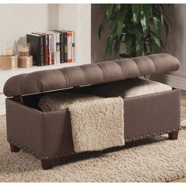 Tufted Storage Ottoman Bench With Nailhead