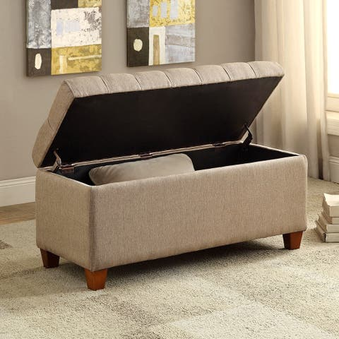 Lankary Tufted Upholstered Storage Ottoman/ Bench