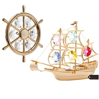 Matashi 24k Gold Plated Ship Set Ornaments with Genuine Matashi Crystals