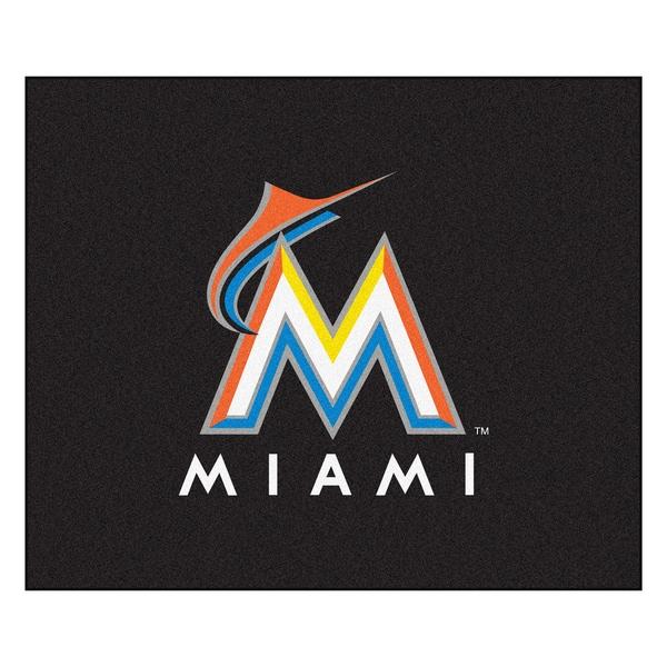 Fanmats Machine-Made Florida Marlins Black Nylon Tailgater Mat (5' x 6')